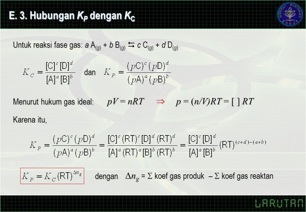 E. 3. Hubungan KP dengan KC pV = nRT p = (n/V)RT = [ ] RT